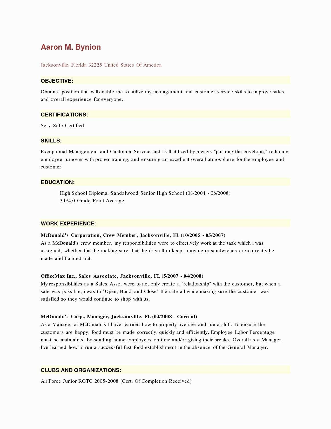 11 Nice Mcdonalds Crew Member Job Description For Resume by Graphics