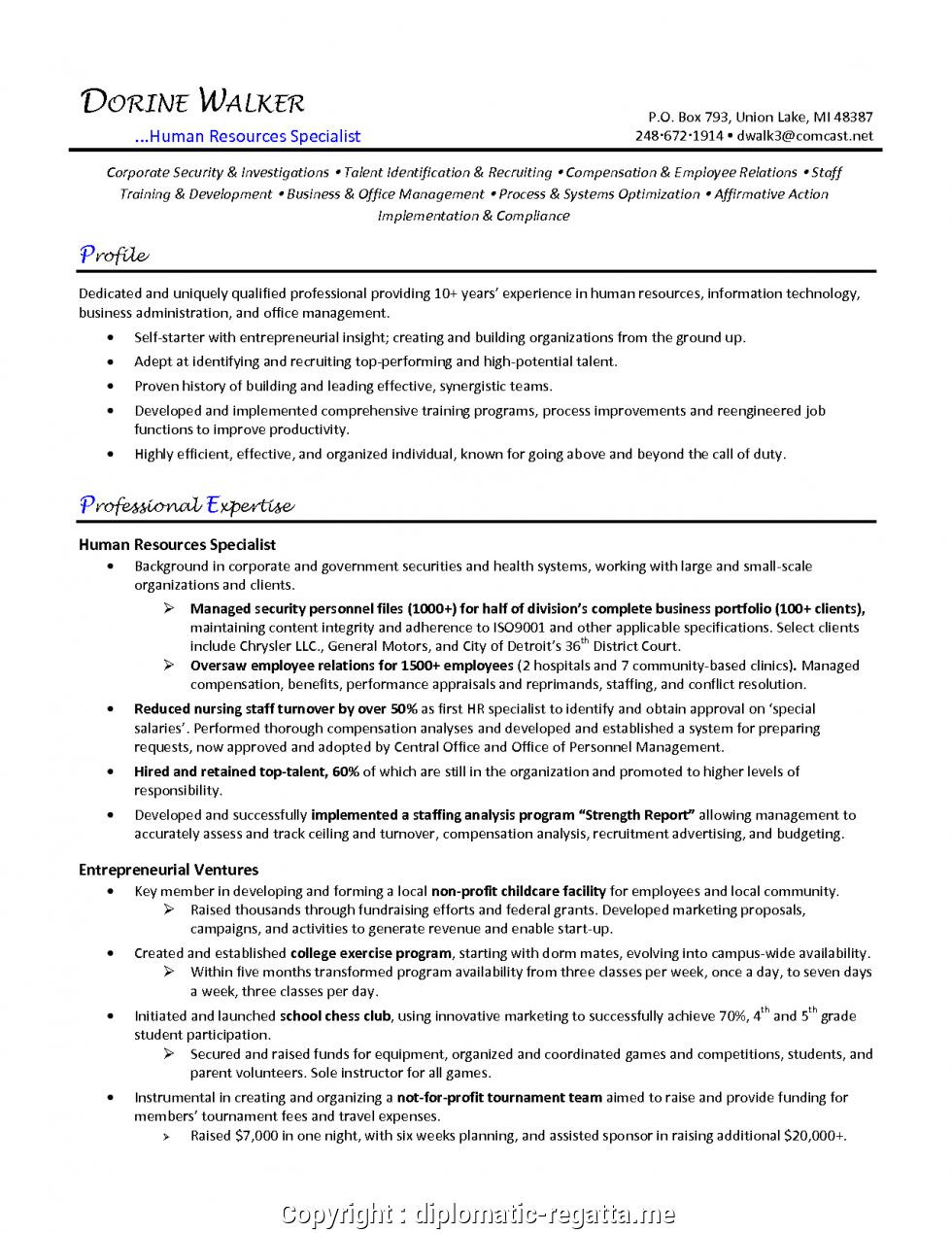 17 New Sample Hr Generalist Resume for Design