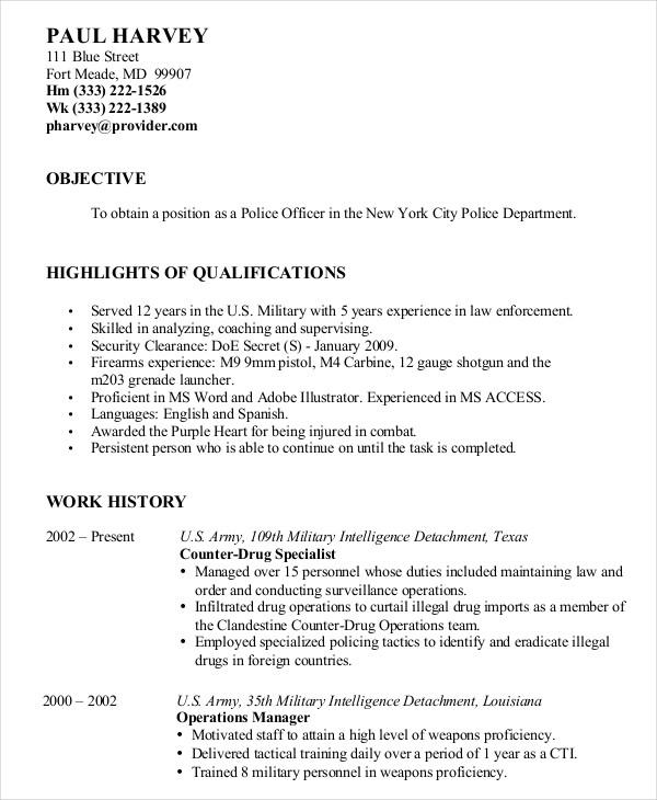 18 Beautiful Military Resume Template Microsoft Word with Pictures