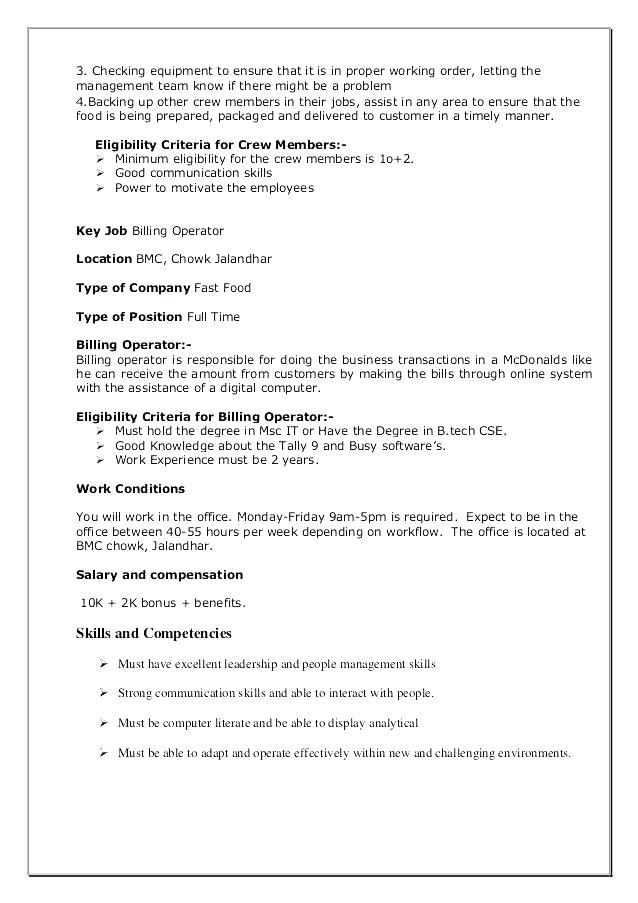 18 Nice Mcdonalds Crew Member Job Description For Resume for Design
