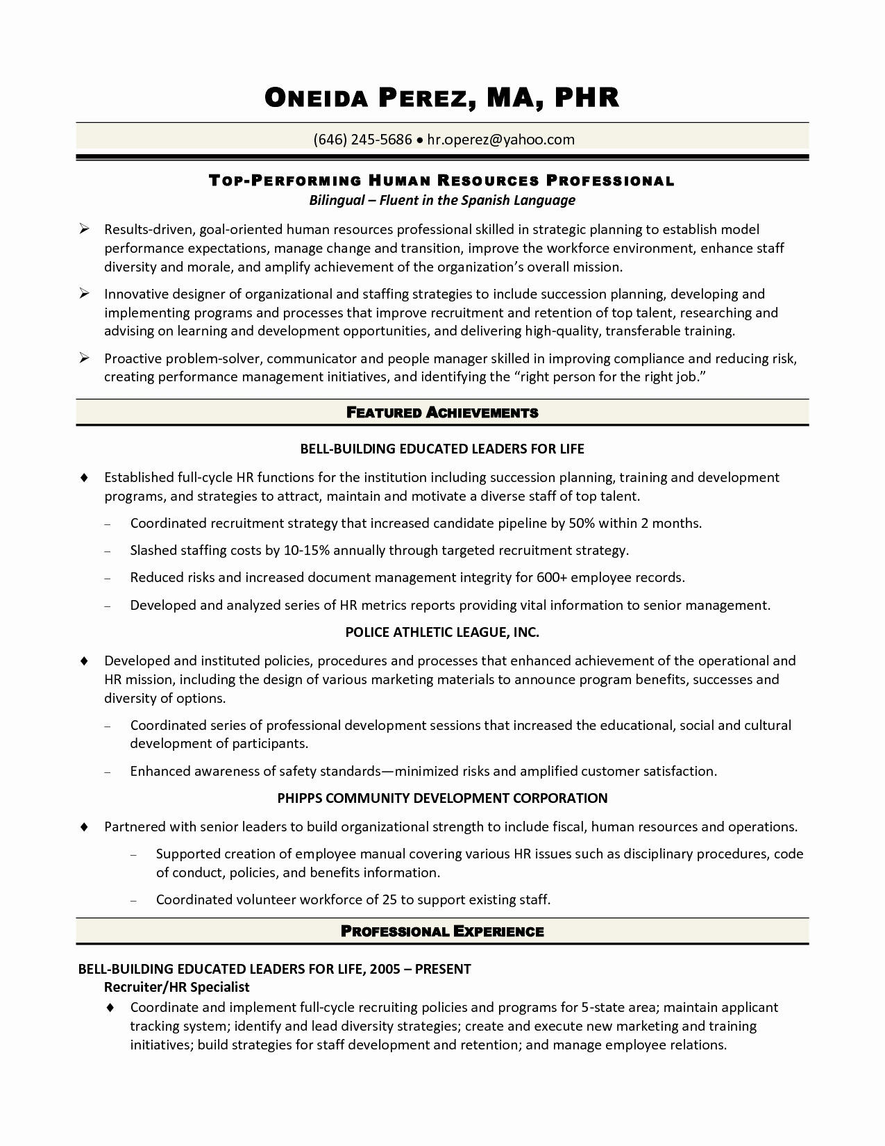 20 Fresh Sample Hr Generalist Resume for Graphics