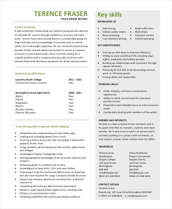 20 Nice Truck Driver Resume with Design