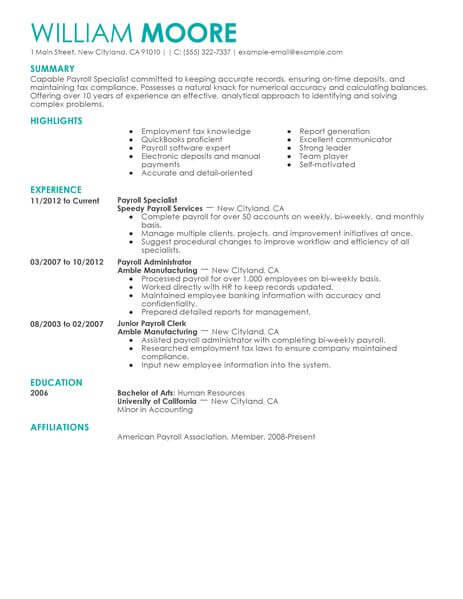 21 Cool Payroll Specialist Resume with Ideas