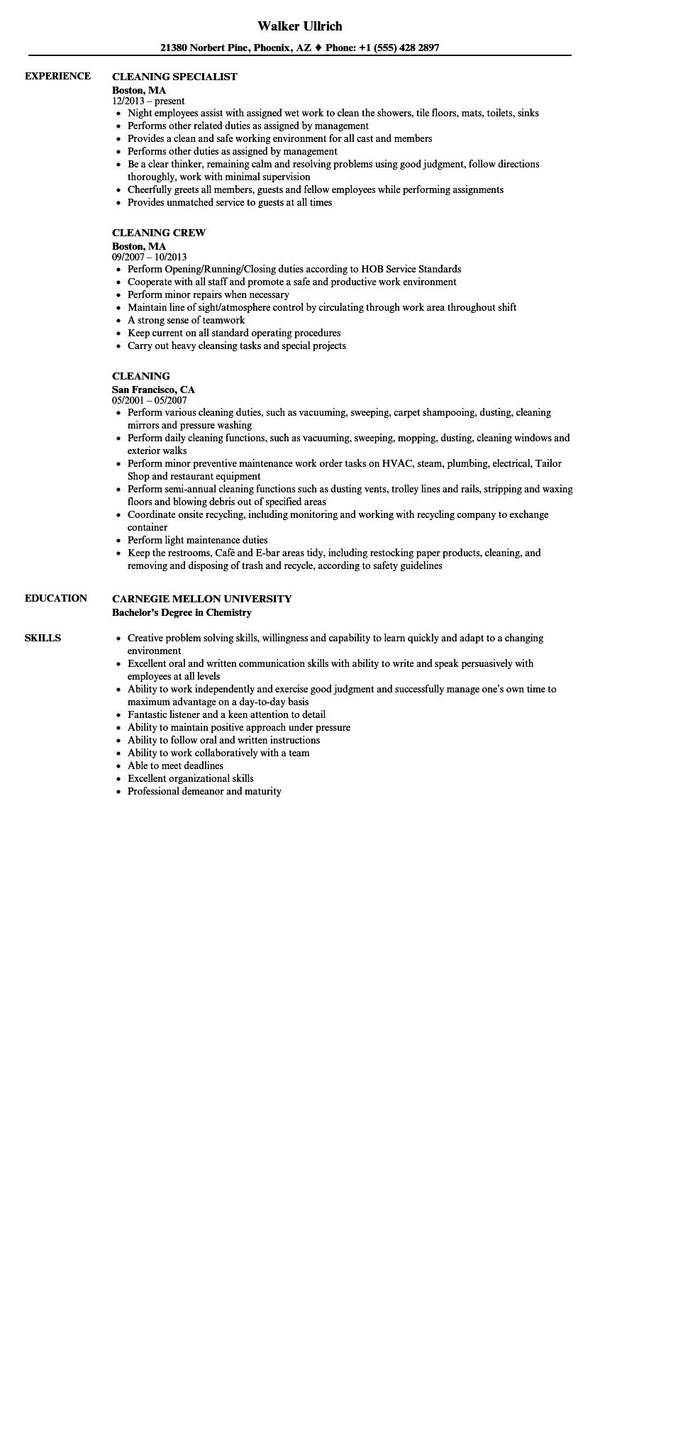24 Stunning Resume For Cleaning Job with Gallery