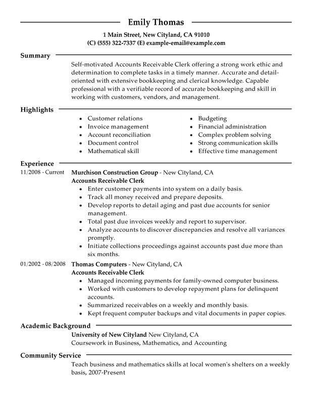 25 New Accounts Receivable Resume Objective by Pictures