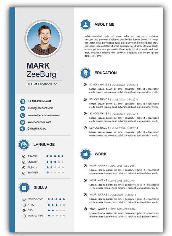 26 Stunning Infographic Resume Template Word Free Download by Pics