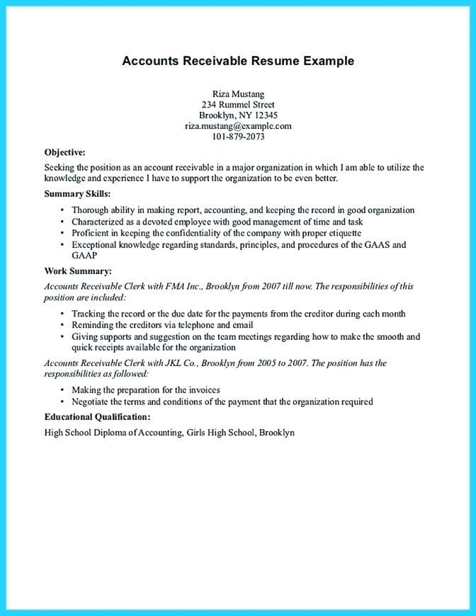 41 Excellent Accounts Receivable Resume Objective for Gallery