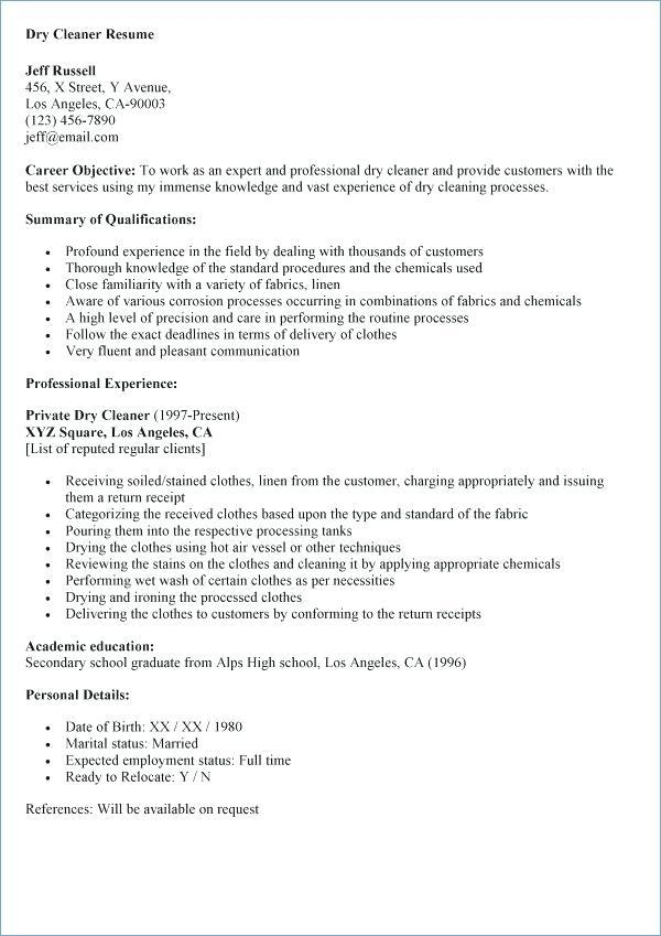 46 Nice Resume For Cleaning Job by Design