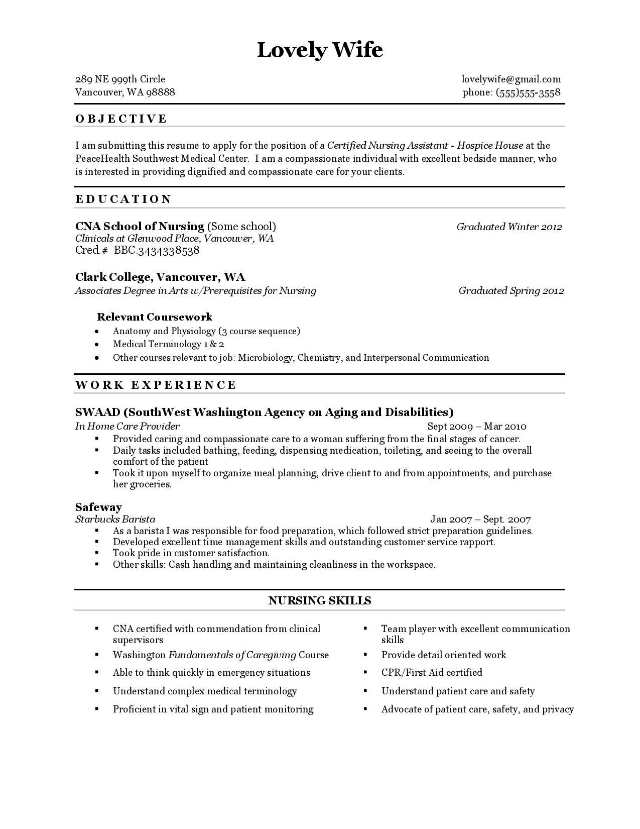 50 Excellent Cna Resume Skills For Design