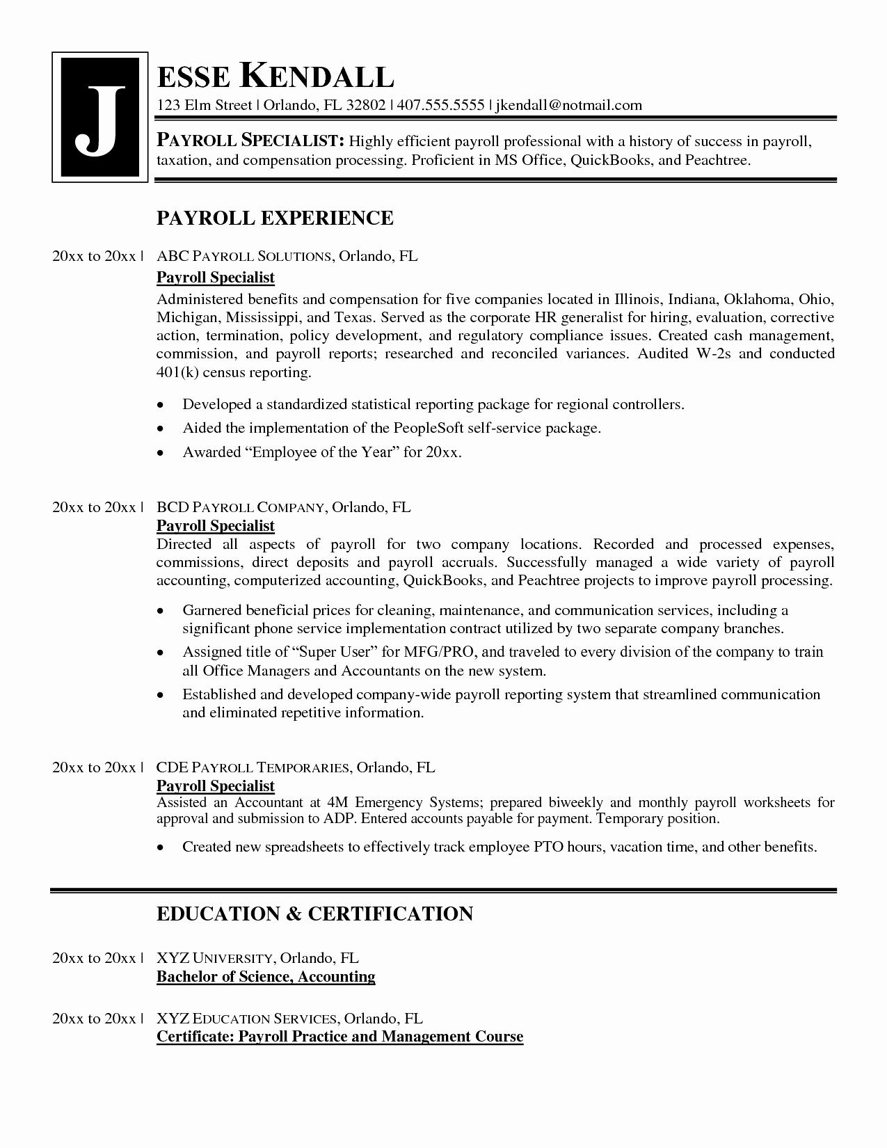 50 Nice Payroll Specialist Resume with Ideas