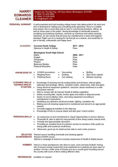 53 Best Resume For Cleaning Job for Ideas