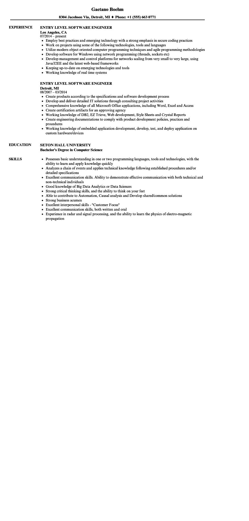54 Excellent Entry Level Software Engineer Resume with Ideas