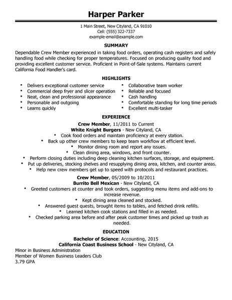58 Excellent Mcdonalds Crew Member Job Description For Resume for Graphics