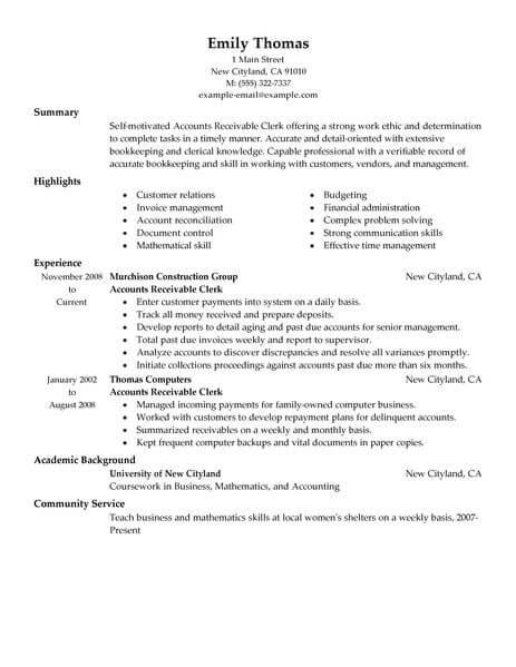 60 Excellent Accounts Receivable Resume Objective by Images