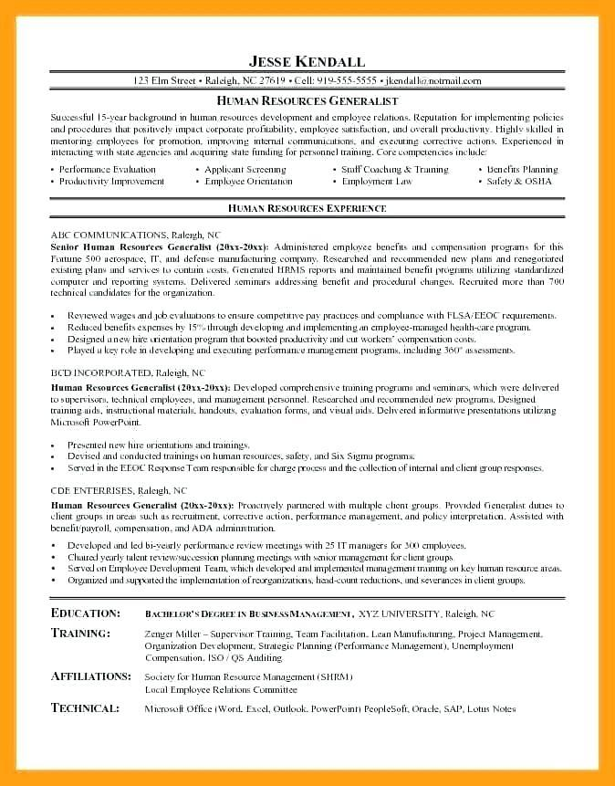 61 Great Sample Hr Generalist Resume with Graphics