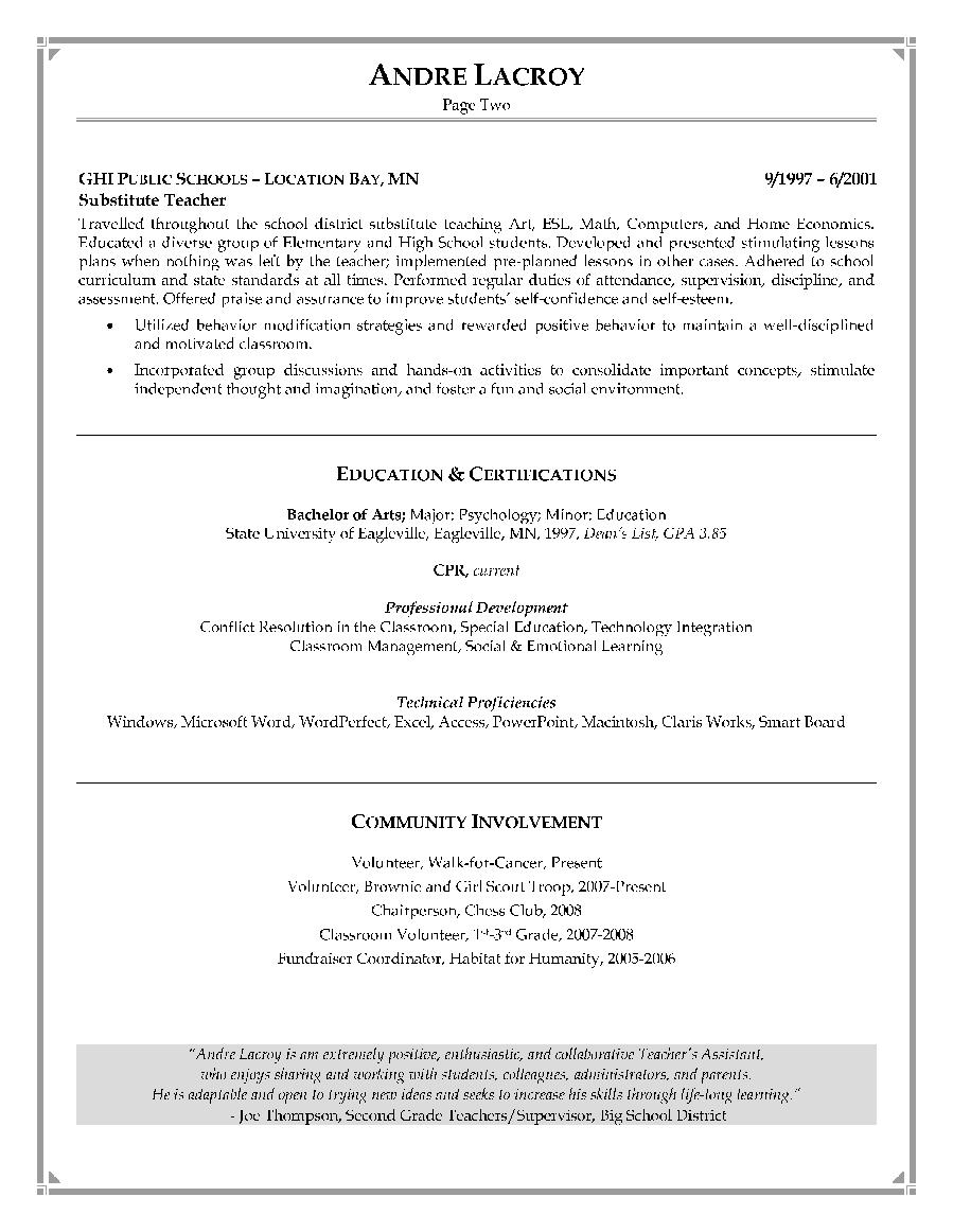 74 Nice Sample Resume For Teacher Assistant With No Experience By