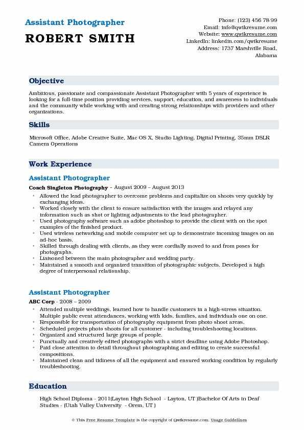 63 Best Photographer Resume Pdf with Pictures