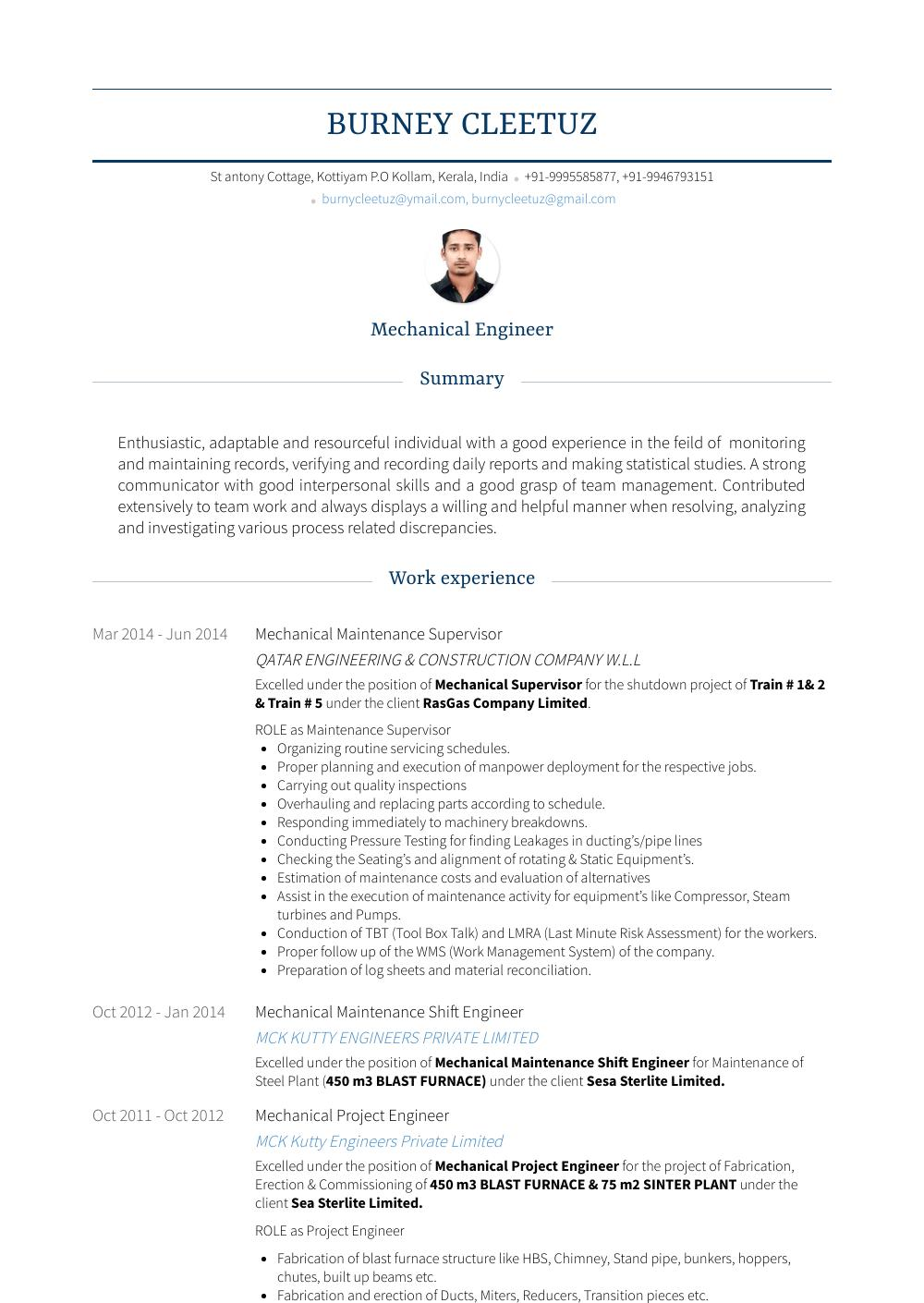 73 Great Maintenance Supervisor Resume for Images