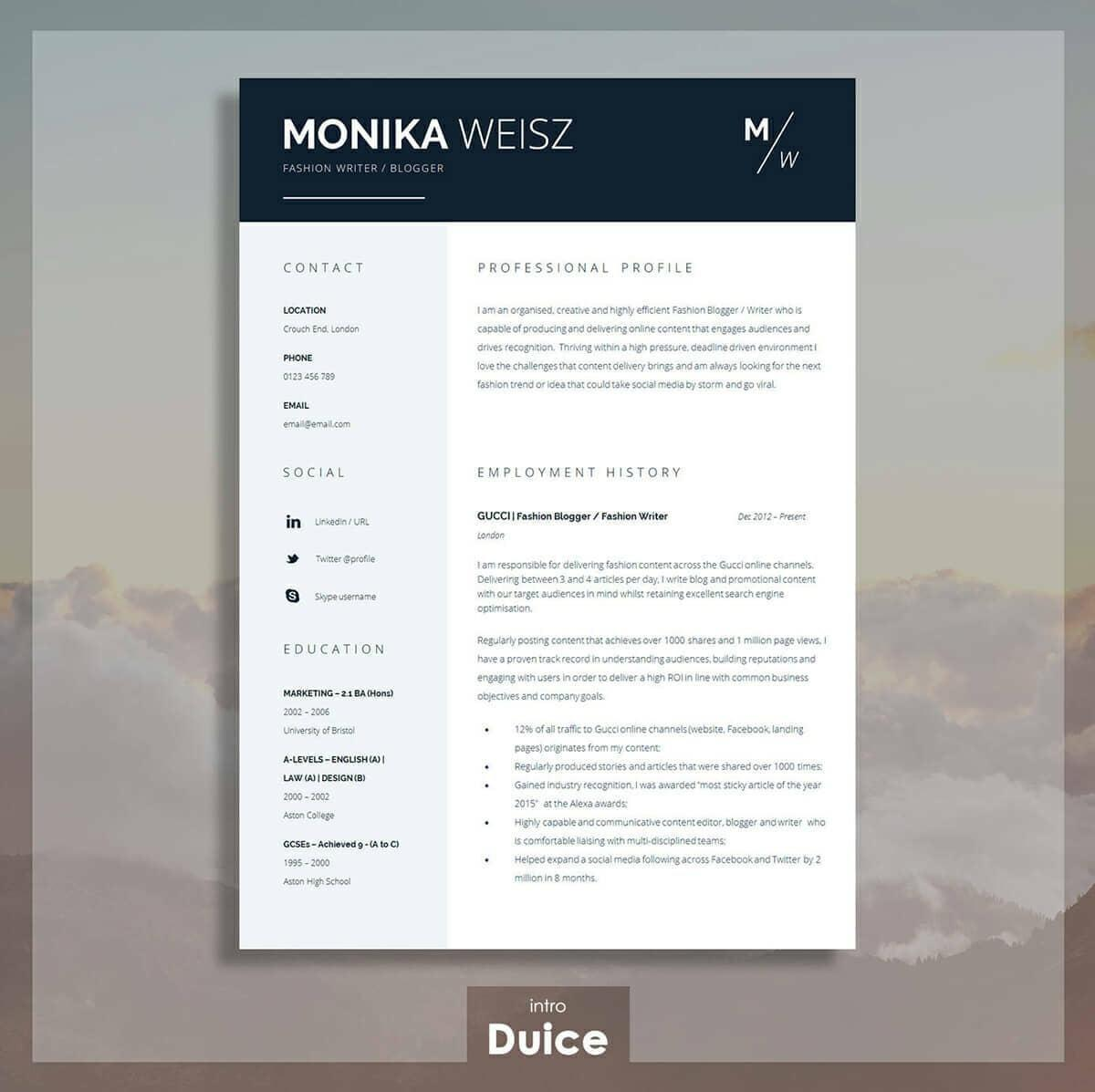74 Stunning Blogger Resume Template for Images
