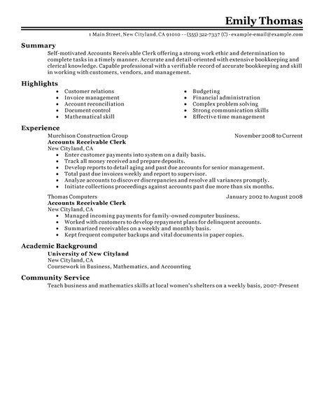 76 Excellent Accounts Receivable Resume Objective by Pics