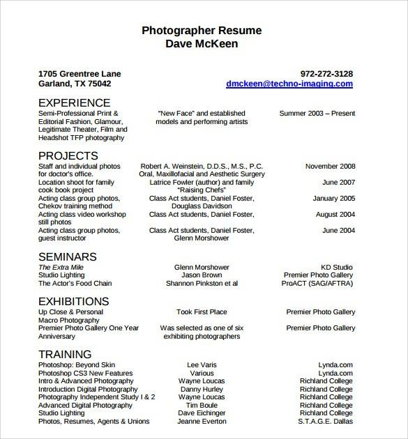 78 Top Photographer Resume Pdf by Graphics