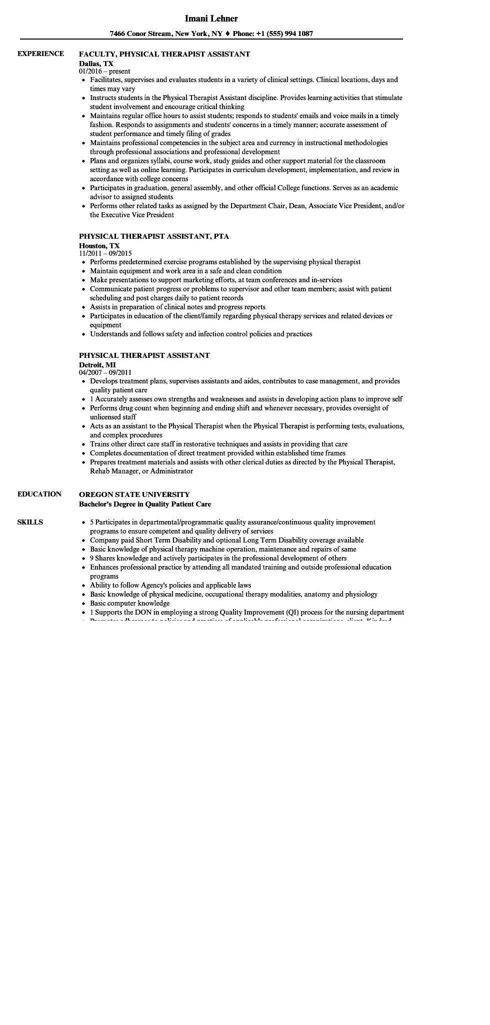 79 New Physical Therapist Assistant Resume with Pictures