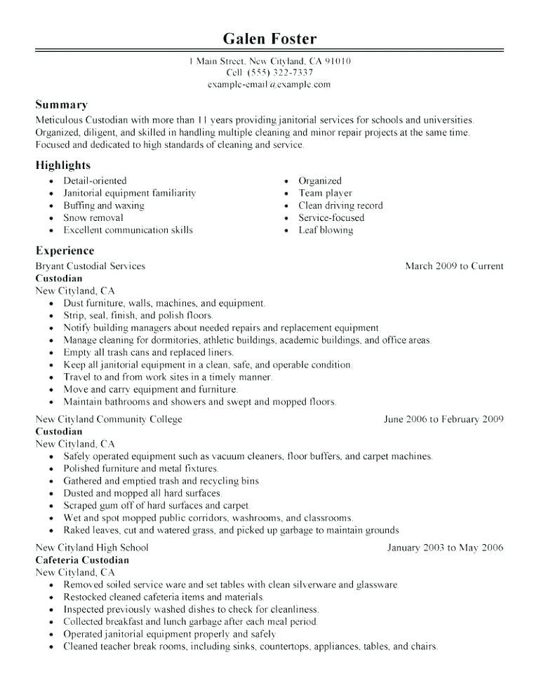 82 New Resume For Cleaning Job with Design