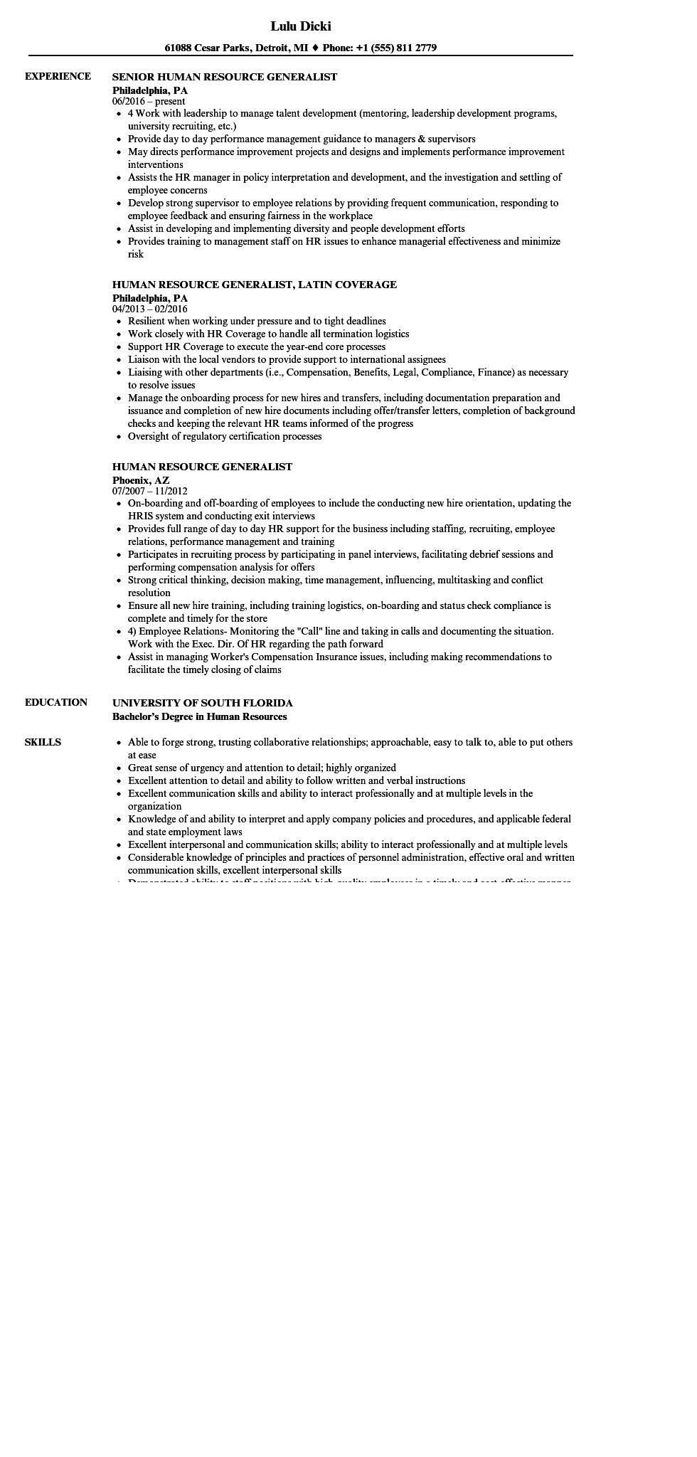 83 Beautiful Sample Hr Generalist Resume for Gallery
