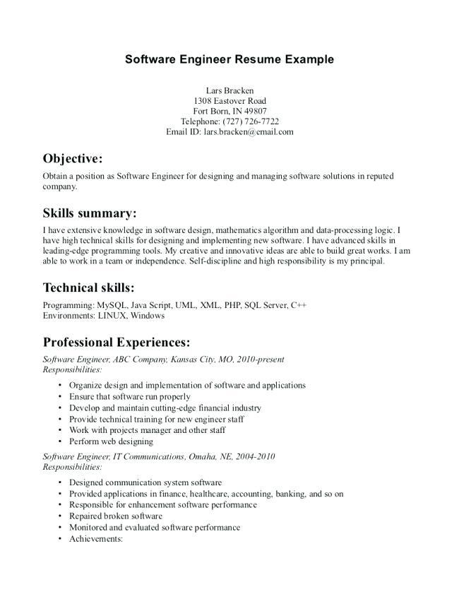 83 Inspirational Entry Level Software Engineer Resume for Images