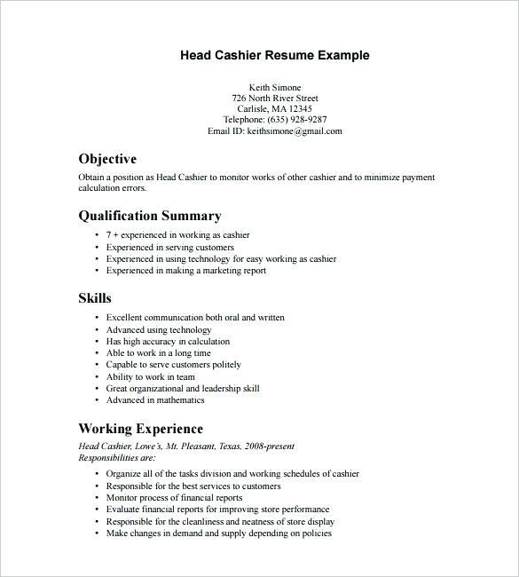 84 Stunning Cashier Resume Sample with Pics