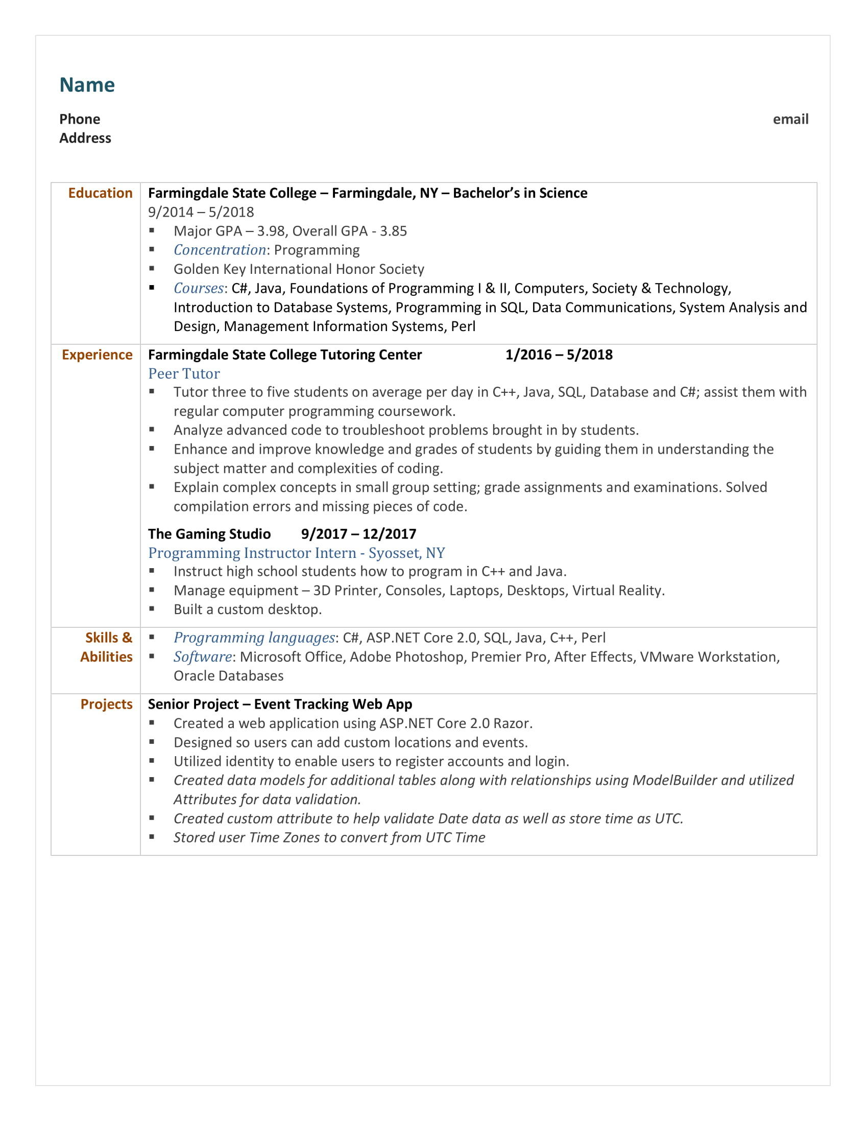88 Beautiful Entry Level Software Engineer Resume with Pics