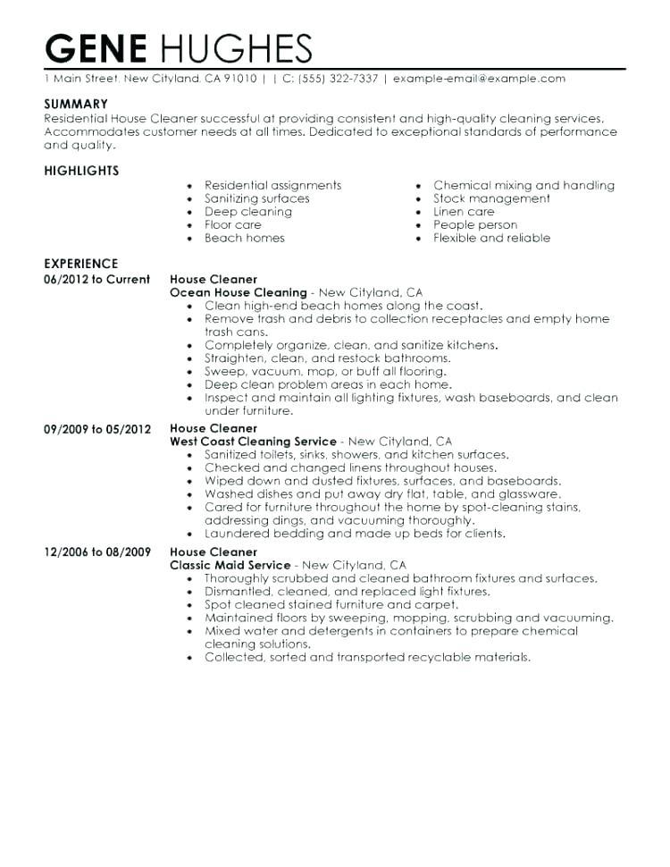 89 Beautiful Resume For Cleaning Job with Gallery