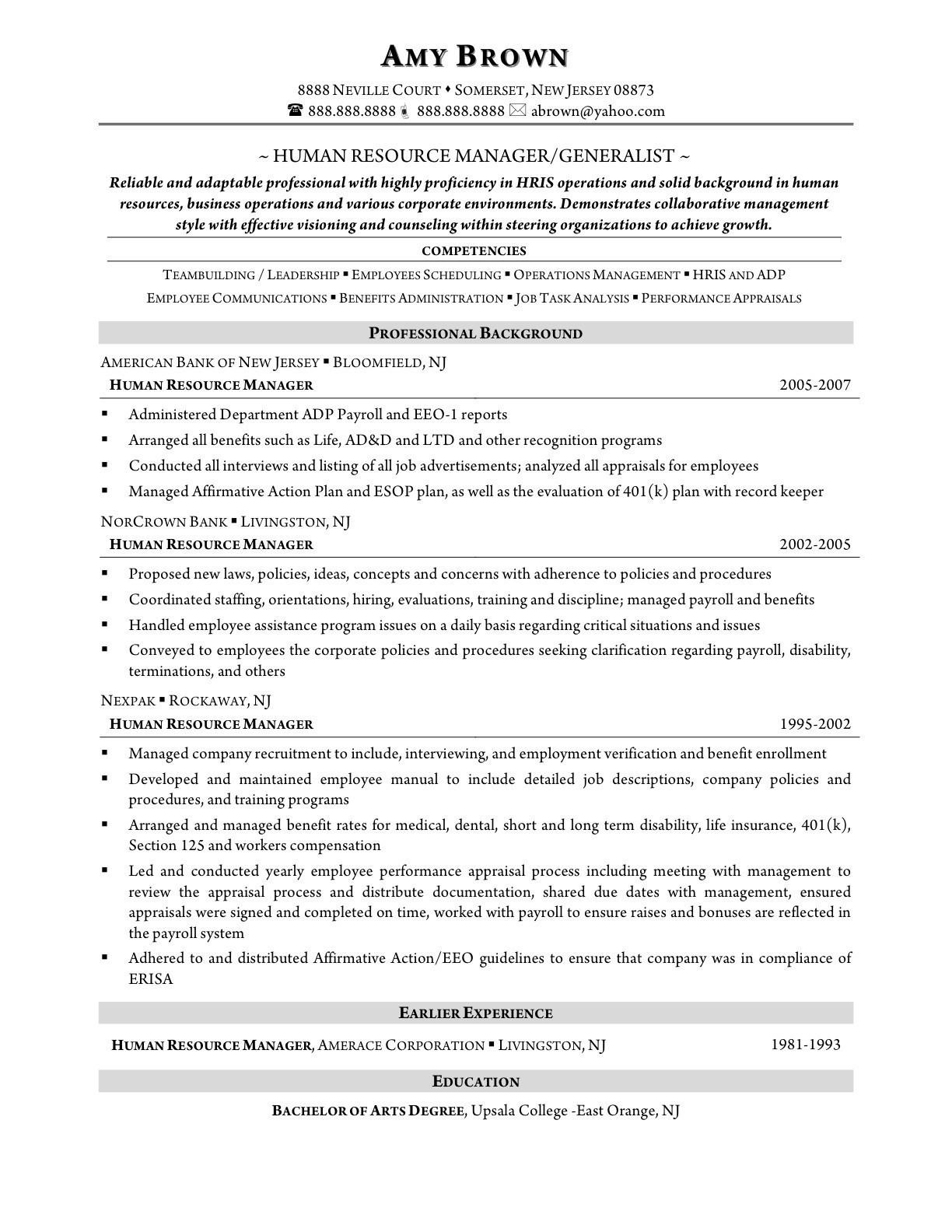 89 Excellent Sample Hr Generalist Resume with Pics