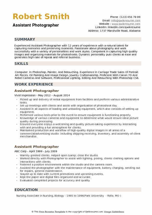 90 Top Photographer Resume Pdf with Images