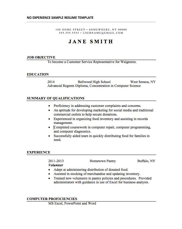 First Time Resume With No Experience Templates Eddiecheever Net