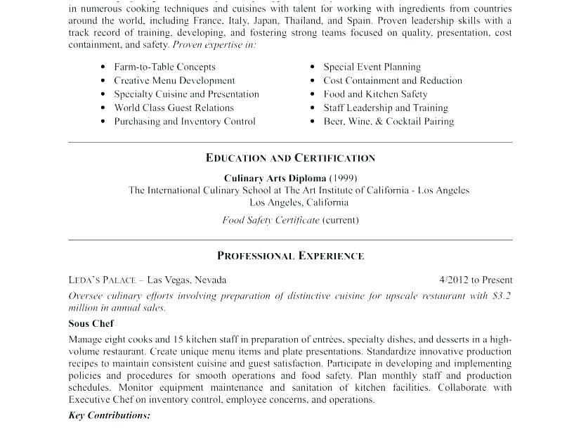 12 Great Chef Resume Sample Pdf by Pics