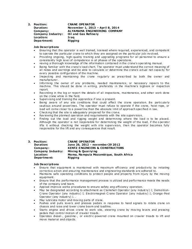 12 Inspirational Crane Operator Resume Cover Letter with Gallery