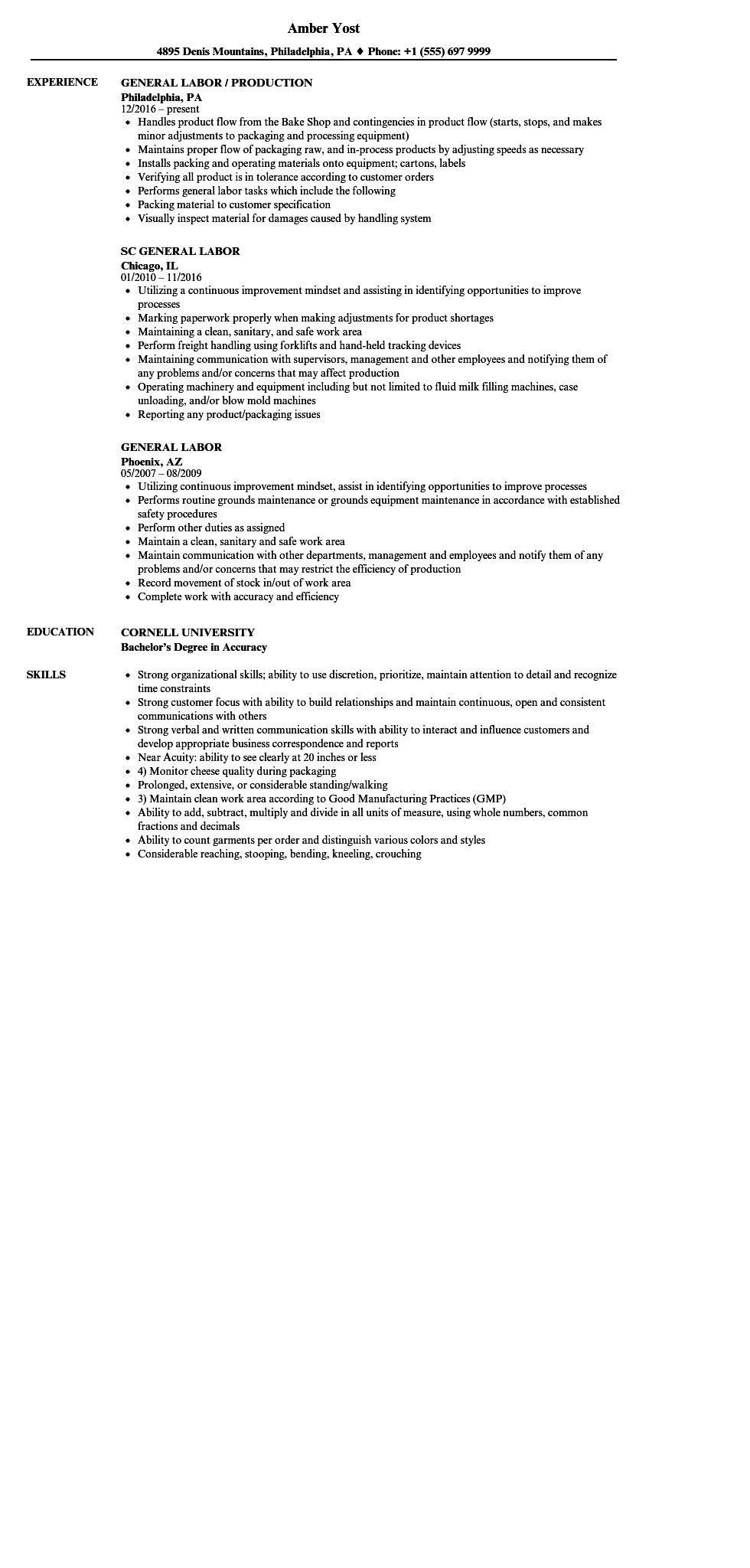 13 Top General Labour Resume Sample With Ideas