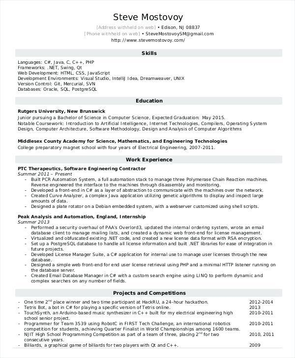 14 Top Entry Level Software Engineer Resume for Pics