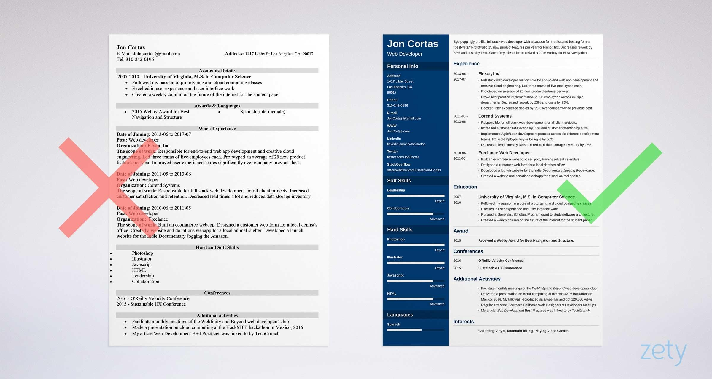 15 Excellent Modern Day Resume for Pictures