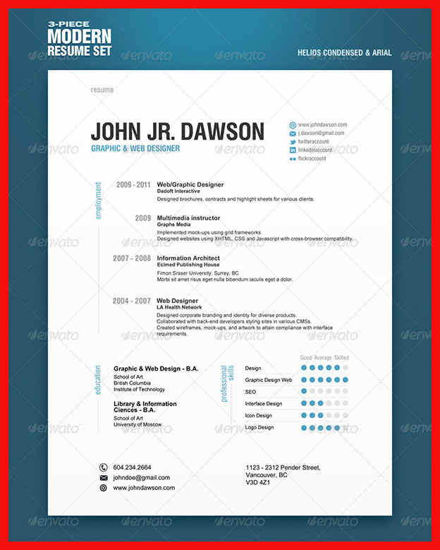 15 Fresh Modern Day Resume by Ideas