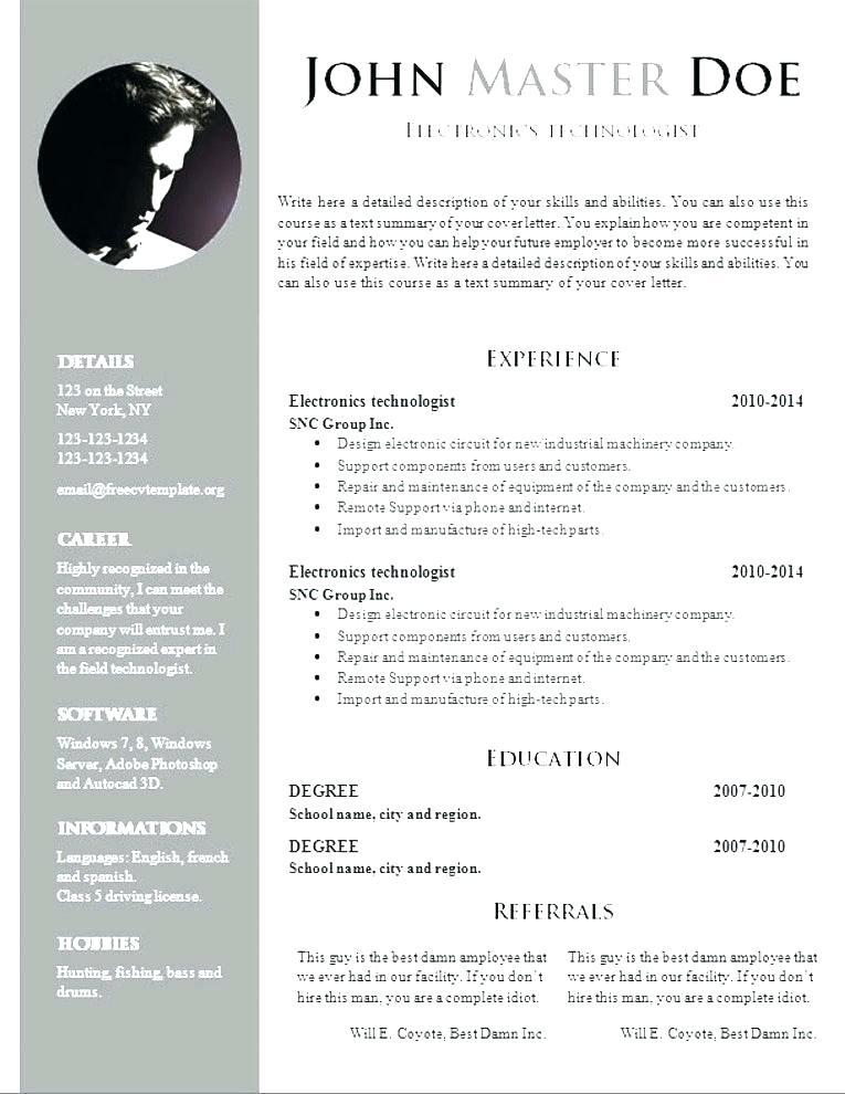15 Nice Resume Template Word Doc Free by Design