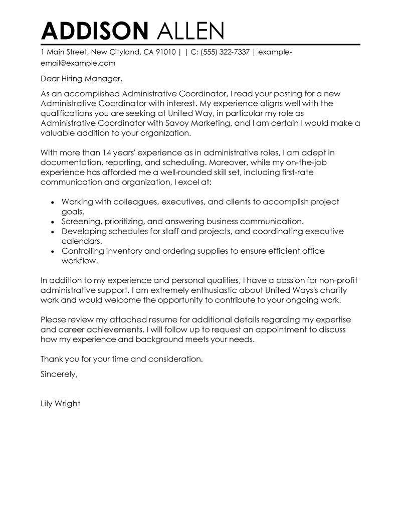 16 Fresh Administration Cover Letter Sample by Gallery