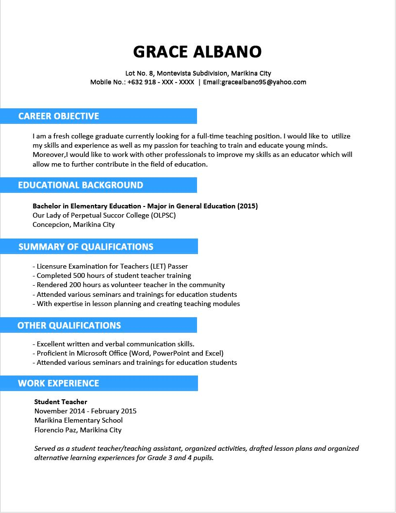 16 Stunning Sample Resume Format by Graphics