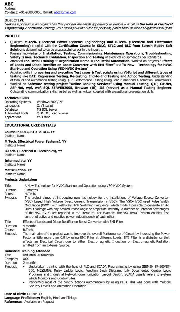 18 Great Electrical Engineering Resume Sample For Freshers with Gallery