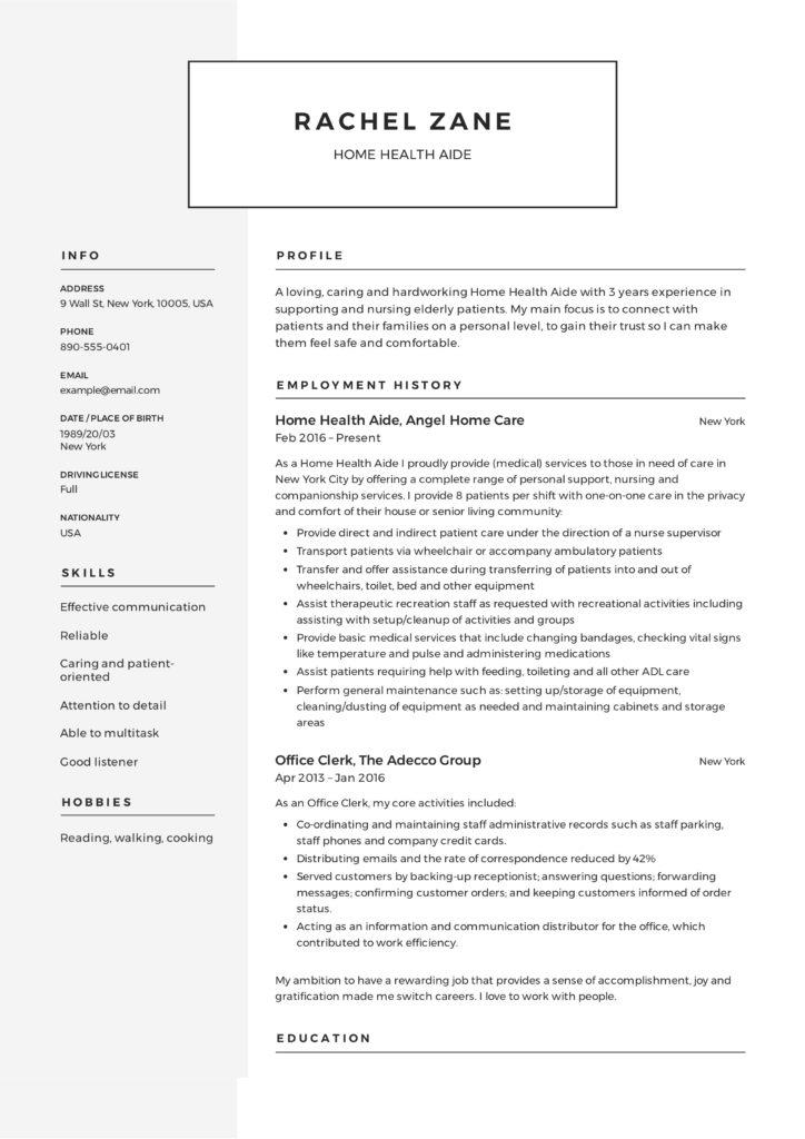18 Nice Hha Resume for Design