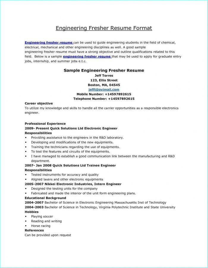 19 New Electrical Engineering Resume Sample For Freshers by Ideas