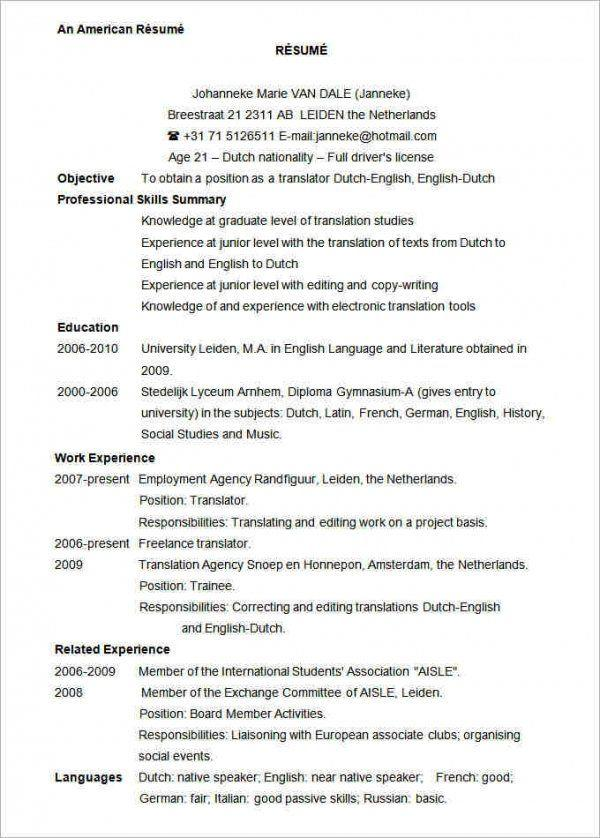 19 New Us Resume Format with Pictures