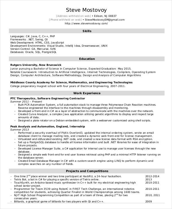 19 Stunning Entry Level Software Engineer Resume for Images