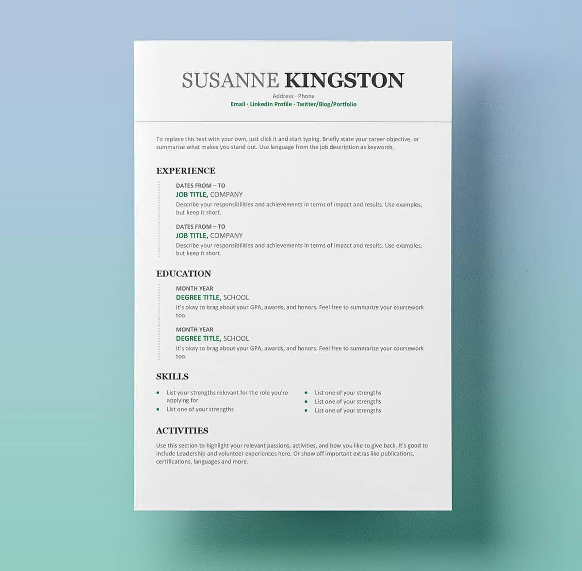 20 New Resume Examples Word for Ideas